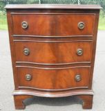 SOLD - Small Serpentine Front Mahogany Chest of Drawers by Reprodux